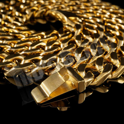 Affordable 18K Gold Cuban Miami Hip Hop Chain Link Stainless Steel - Close Up