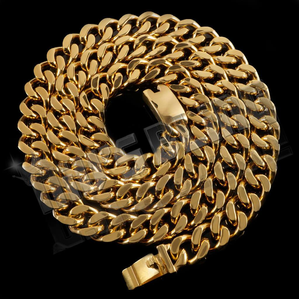 Affordable 18K Gold Cuban Miami Hip Hop Chain Link Stainless Steel - Whole View