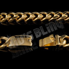 Affordable 18K Gold Cuban Miami Hip Hop Chain Link Stainless Steel - Side View with Open Box Clasp