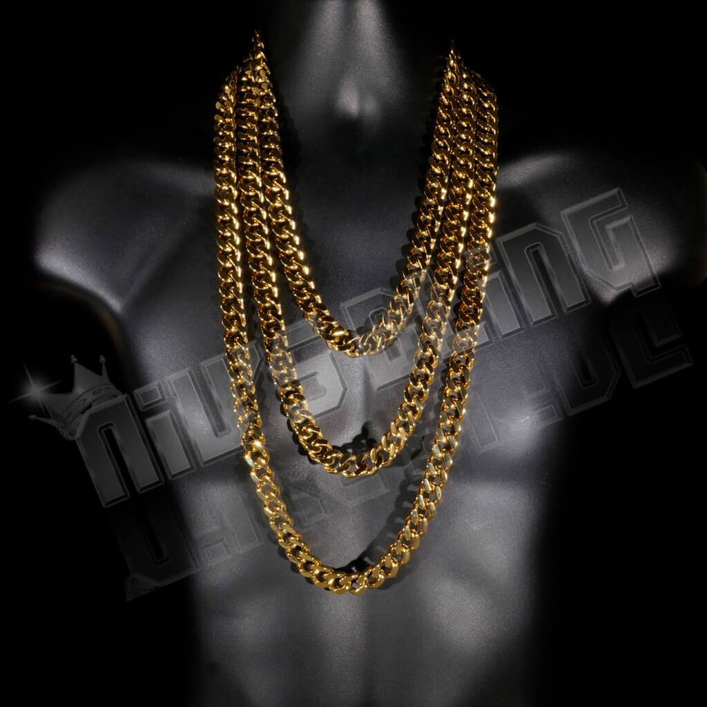 Affordable 18K Gold Cuban Miami Hip Hop Chain Link Stainless Steel - On Mannequin