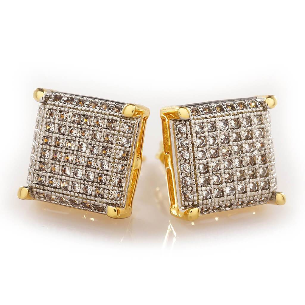 Affordable 18K Gold Framed Square Stud Hip Hop Earrings - White Background