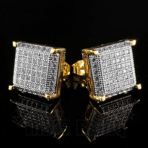 18K Gold Framed Square Stud Earrings