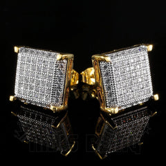 Affordable 18K Gold Framed Square Stud Hip Hop Earrings - Black Background