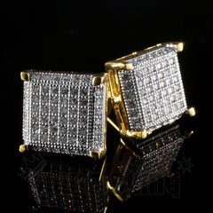 Affordable 18K Gold Framed Square Stud Hip Hop Earrings - Side View