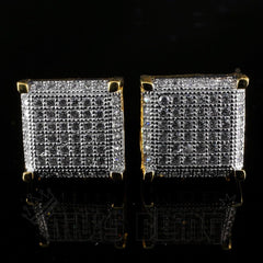 Affordable 18K Gold Framed Square Stud Hip Hop Earrings - Front View