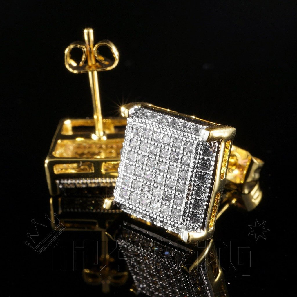 Affordable 18K Gold Framed Square Stud Hip Hop Earrings - Front and Back View