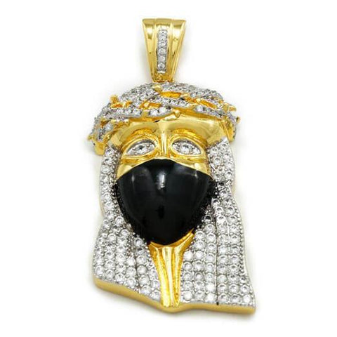 18k White Gold Plated Iced Out Cz Jesus Bandana Piece Pendant Snake Chain Jewelry & Watches Necklaces & Pendants