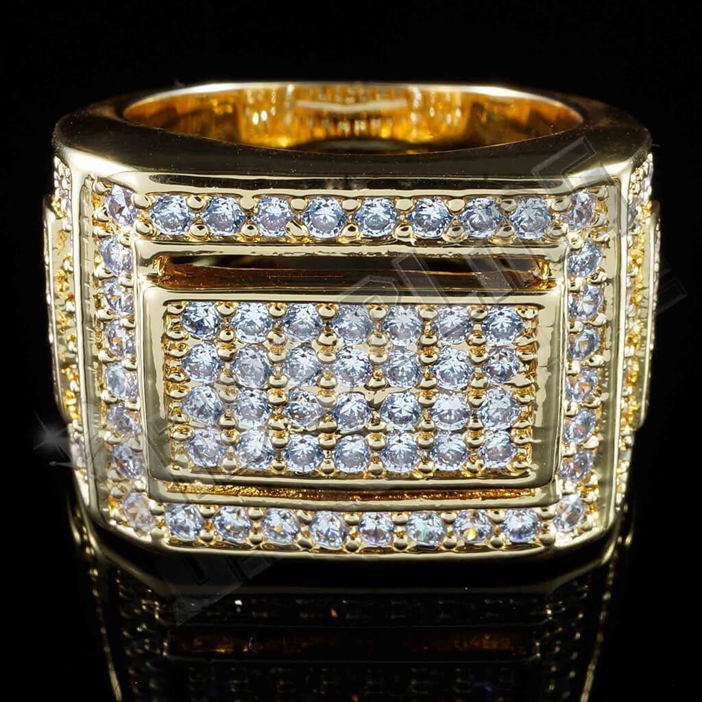 Affordable 18K Gold Iced Out Championship Pinky Hip Hop Ring - Front View