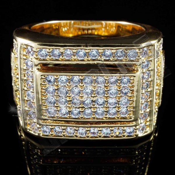 18k Gold Iced Out Championship Pinky Ring Niv S Bling
