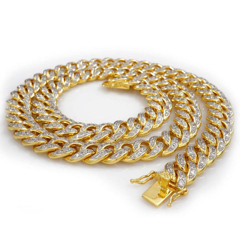 Affordable 18K Gold Iced Out Cuban Hip Hop Chain - White Background