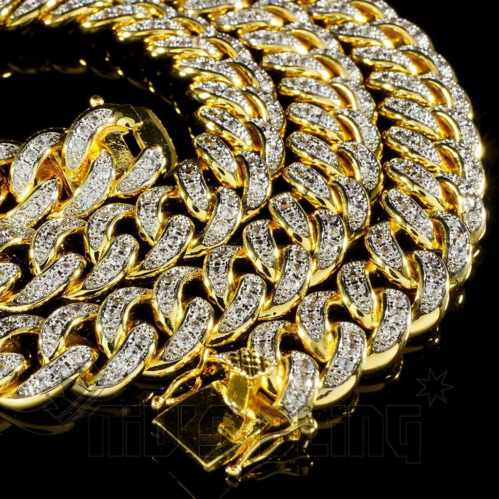 18K Gold Iced Out Cuban Chain