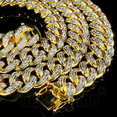 Affordable 18K Gold Iced Out Cuban Hip Hop Chain - Close up