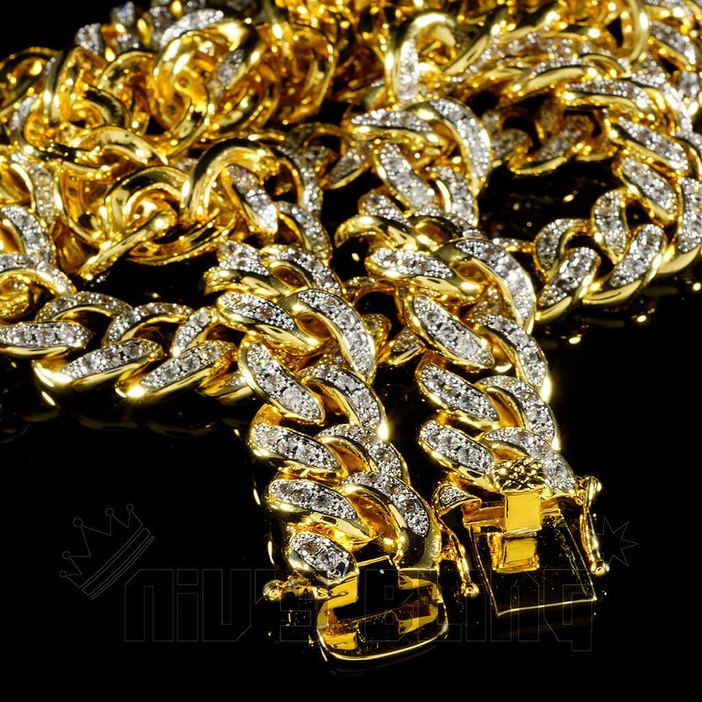 Affordable 18K Gold Iced Out Cuban Hip Hop Chain - Side View with Tongue and Safety Clasp