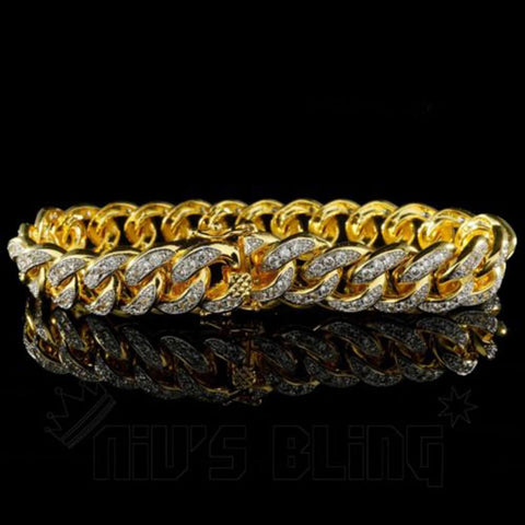 Affordable 18K Gold Iced Out Cuban Link Hip Hop Bracelet - Front View