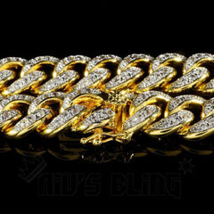 Affordable 18K Gold Iced Out Cuban Link Hip Hop Bracelet - Side View with Closed Box Clasp