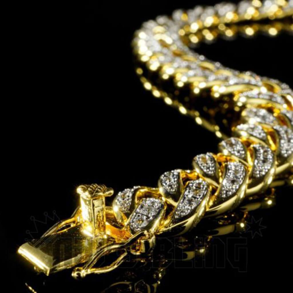 Affordable 18K Gold Iced Out Cuban Link Hip Hop Bracelet - Side View with Box Clasp
