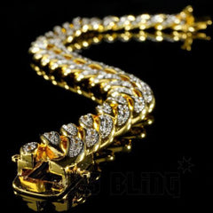 Affordable 18K Gold Iced Out Cuban Link Hip Hop Bracelet - Side View with Safety Clasp