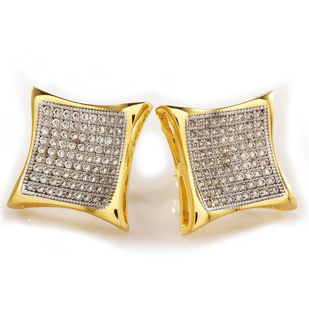 Affordable 18K Gold Iced Out Curved Square Stud Hip Hop Earrings - White Background