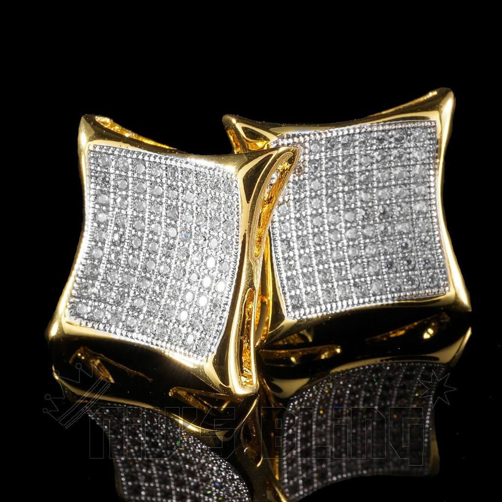 Affordable 18K Gold Iced Out Curved Square Stud Hip Hop Earrings - Black Background