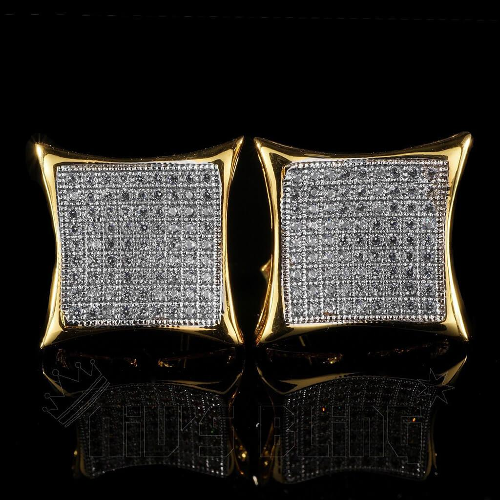Affordable 18K Gold Iced Out Curved Square Stud Hip Hop Earrings - Front View