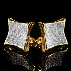 Affordable 18K Gold Iced Out Curved Square Stud Hip Hop Earrings - Front and Back View