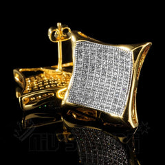 Affordable 18K Gold Iced Out Curved Square Stud Hip Hop Earrings - Front and clasp view