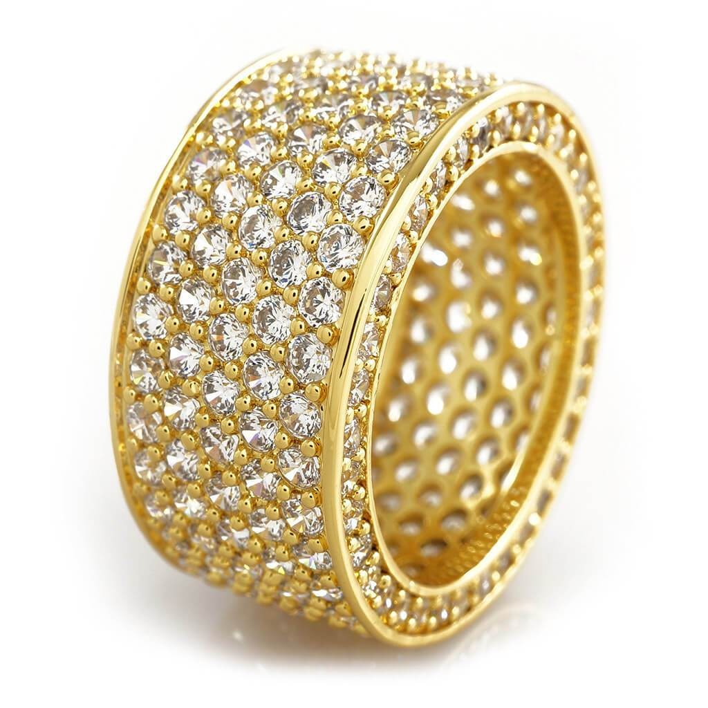 Affordable 18K Gold Iced Out Eternity Wedding Ring - White Background
