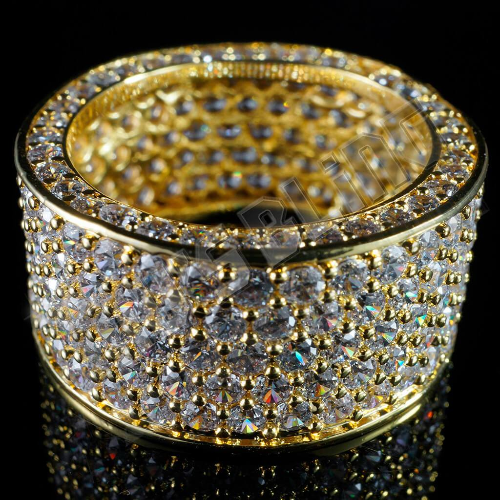Affordable 18K Gold Iced Out Eternity Wedding Ring - Front View