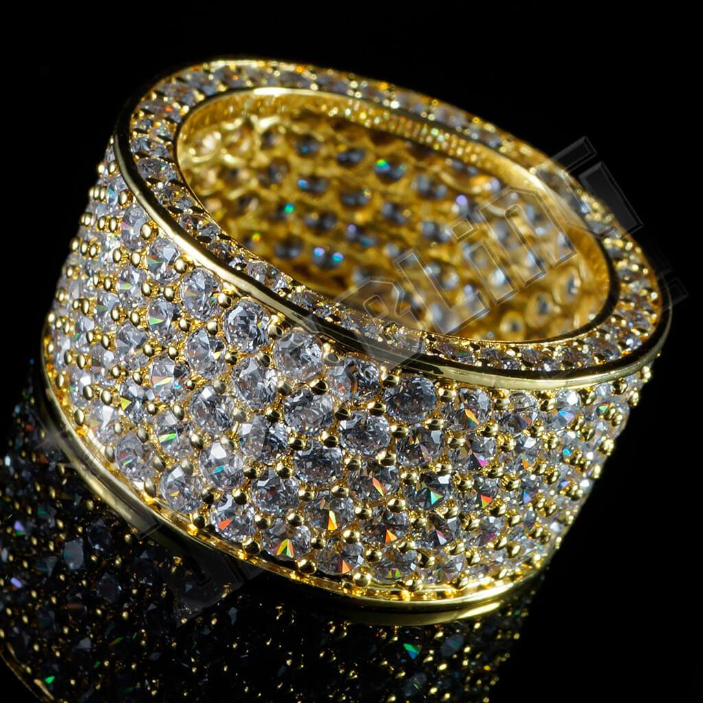 18K Gold Iced Out Wedding Ring Hip Hop Rings Nivs Bling