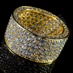 18K Gold Iced Out Eternity Wedding Ring