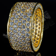 Affordable 18K Gold Iced Out Eternity Wedding Ring - Black Background