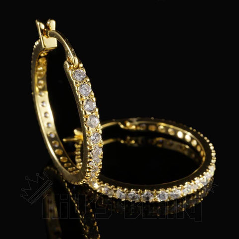 18K Gold Iced Hoop Earrings