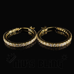 18K Gold Iced Out Hoop Earrings