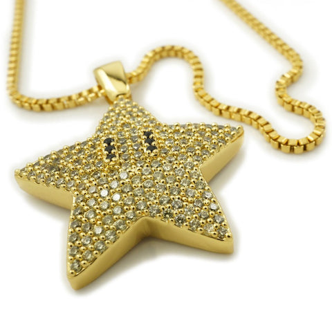 Affordable 18K Gold Iced Out Mario Star With Hip Hop Chain - White Background