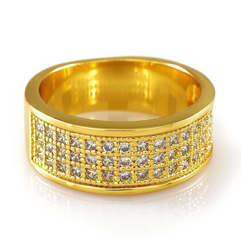 Affordable 18K Gold Iced Out Micropave Engagement Pinky Ring - White Background