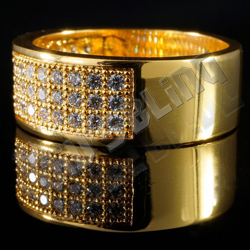 Affordable 18K Gold Iced Out Micropave Engagement Pinky Ring - Side View