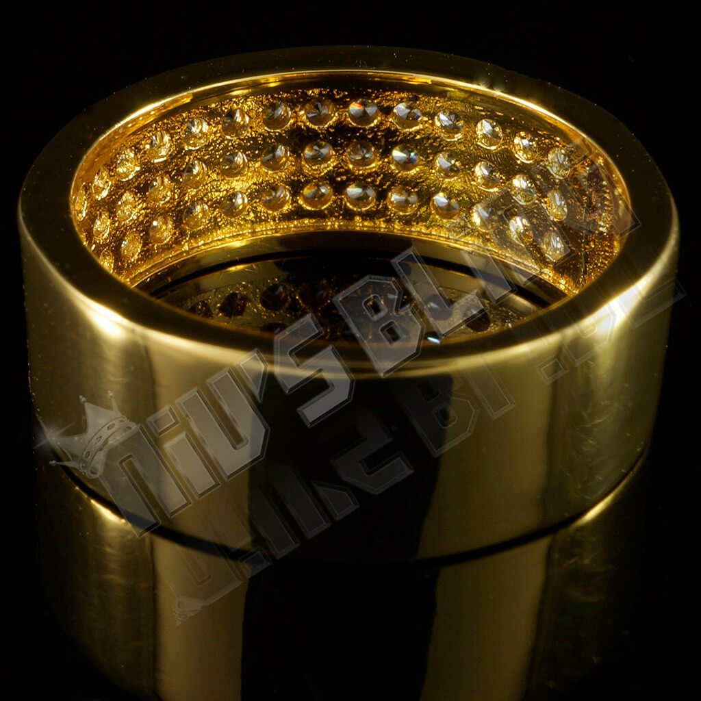 Affordable 18K Gold Iced Out Micropave Engagement Pinky Ring - Back View