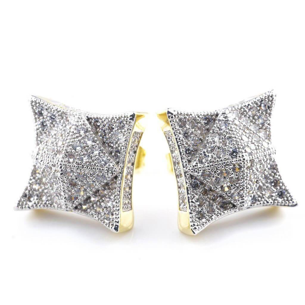 18K Gold Iced Pyramid Stud Earrings