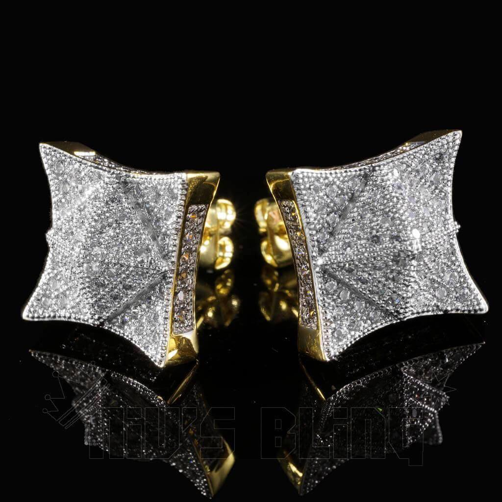 Affordable 18K Gold Iced Out Pyramid Stud Hip Hop Earrings - Front and Back View