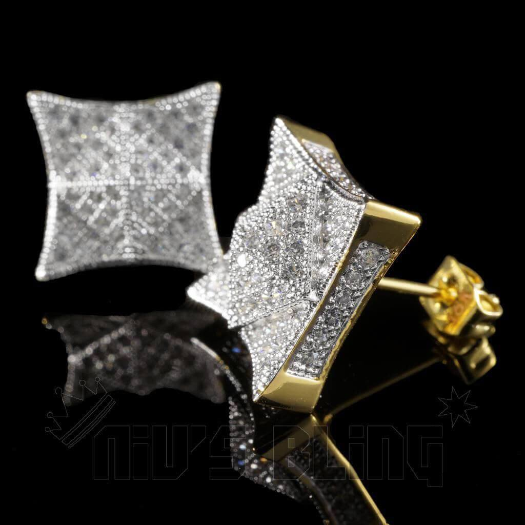 Affordable 18K Gold Iced Out Pyramid Stud Hip Hop Earrings - Front and Clasp view