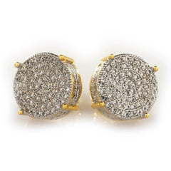 Affordable 18K Gold Iced Out Round Stud Hip Hop Earrings - White Background