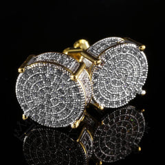 Affordable 18K Gold Iced Out Round Stud Hip Hop Earrings - Side View