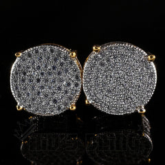 Affordable 18K Gold Iced Out Round Stud Hip Hop Earrings - Front View