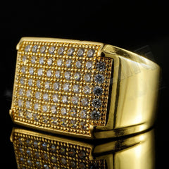 Affordable 18K Gold Iced Out Wedding Pinky Ring - Side View