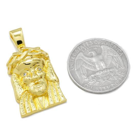 Affordable 18K Gold Jesus Piece 6 With Hip Hop Chain - Coin Comparison