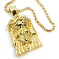 Affordable 18K Gold Jesus Piece 6 With Hip Hop Chain - White Background