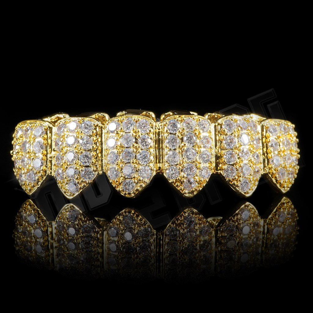 Affordable 18K Gold Plated CZ Cluster Top Bottom Hip Hop Grillz - Bottom Grill