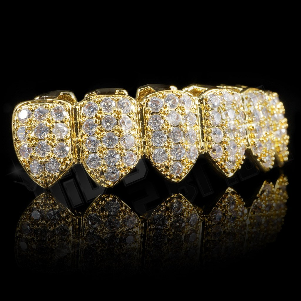 Affordable 18K Gold Plated CZ Cluster Top Bottom Hip Hop Grillz - Bottom Side Grill