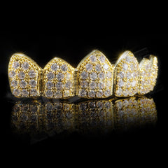 Affordable 18K Gold Plated CZ Cluster Top Bottom Hip Hop Grillz - Top Side Grill