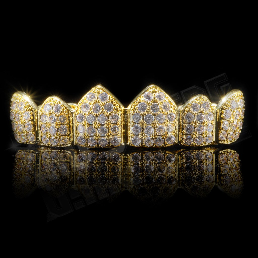 Affordable 18K Gold Plated CZ Cluster Top Bottom Hip Hop Grillz - Top Grill